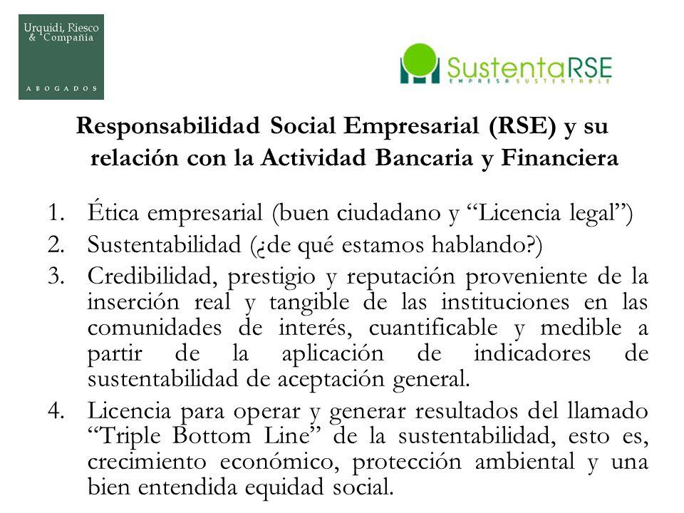 Responsabilidad Social Empresarial (RSE) y su relación con la Actividad Bancaria y Financiera 1.Ética empresarial (buen ciudadano y Licencia legal) 2.