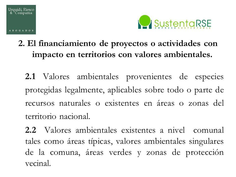 2. El financiamiento de proyectos o actividades con impacto en territorios con valores ambientales. 2.1 Valores ambientales provenientes de especies p