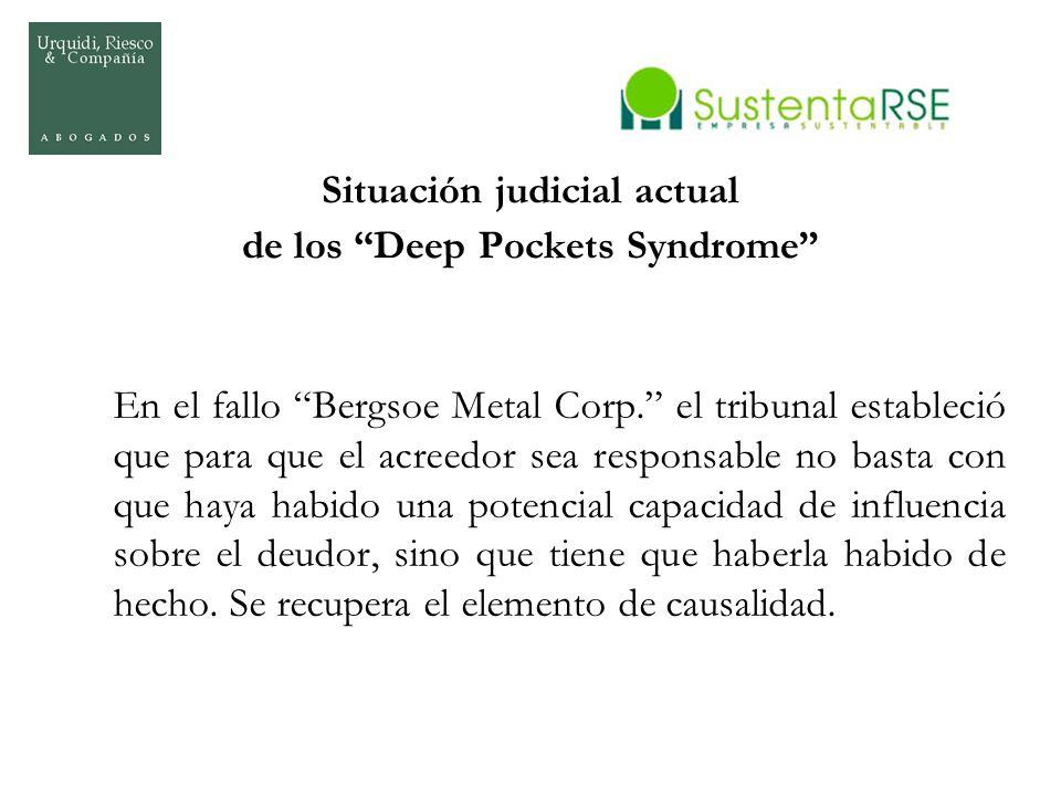 Situación judicial actual de los Deep Pockets Syndrome En el fallo Bergsoe Metal Corp. el tribunal estableció que para que el acreedor sea responsable