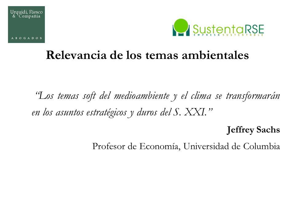 Relevancia de los temas ambientales Los temas soft del medioambiente y el clima se transformarán en los asuntos estratégicos y duros del S. XXI. Jeffr