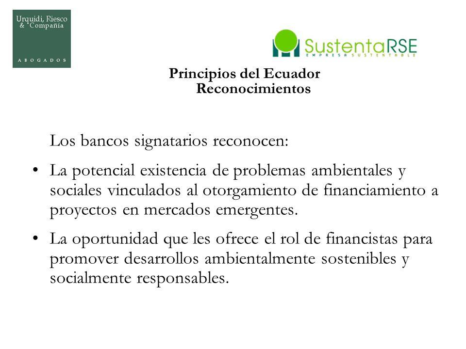 Principios del Ecuador Reconocimientos Los bancos signatarios reconocen: La potencial existencia de problemas ambientales y sociales vinculados al oto