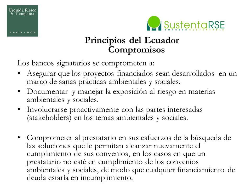 Principios del Ecuador Compromisos Los bancos signatarios se comprometen a: Asegurar que los proyectos financiados sean desarrollados en un marco de s