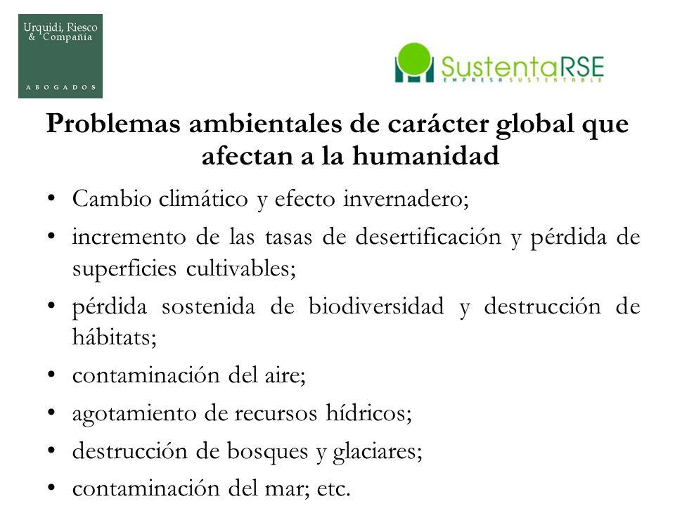 Problemas ambientales de carácter global que afectan a la humanidad Cambio climático y efecto invernadero; incremento de las tasas de desertificación
