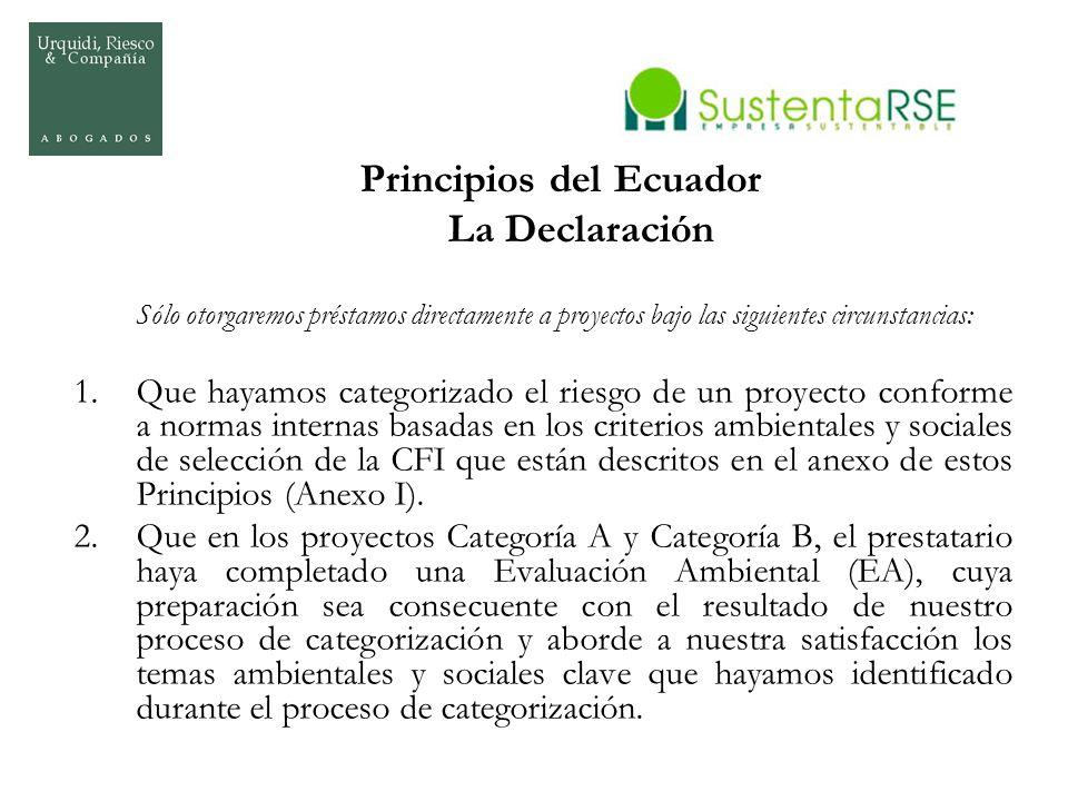 Principios del Ecuador La Declaración Sólo otorgaremos préstamos directamente a proyectos bajo las siguientes circunstancias: 1.Que hayamos categoriza