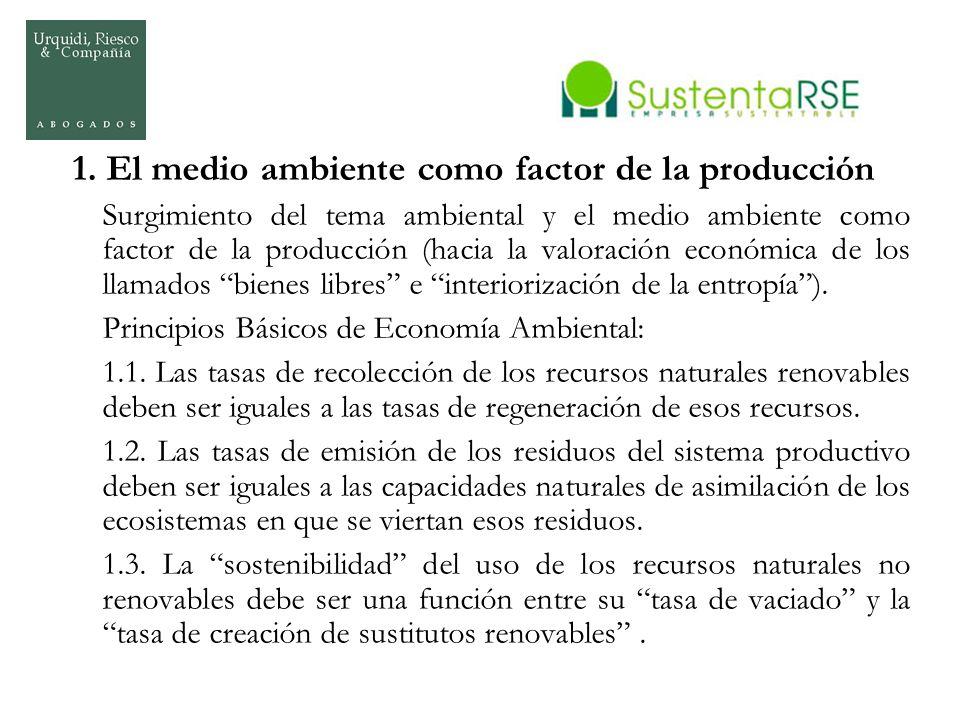 1. El medio ambiente como factor de la producción Surgimiento del tema ambiental y el medio ambiente como factor de la producción (hacia la valoración