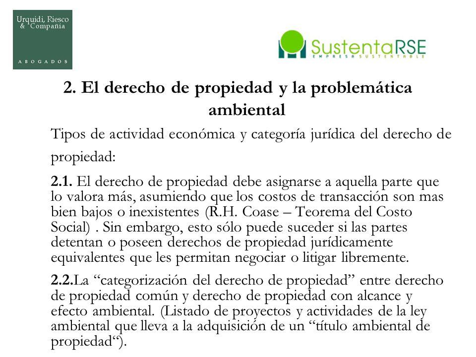 2. El derecho de propiedad y la problemática ambiental Tipos de actividad económica y categoría jurídica del derecho de propiedad: 2.1. El derecho de