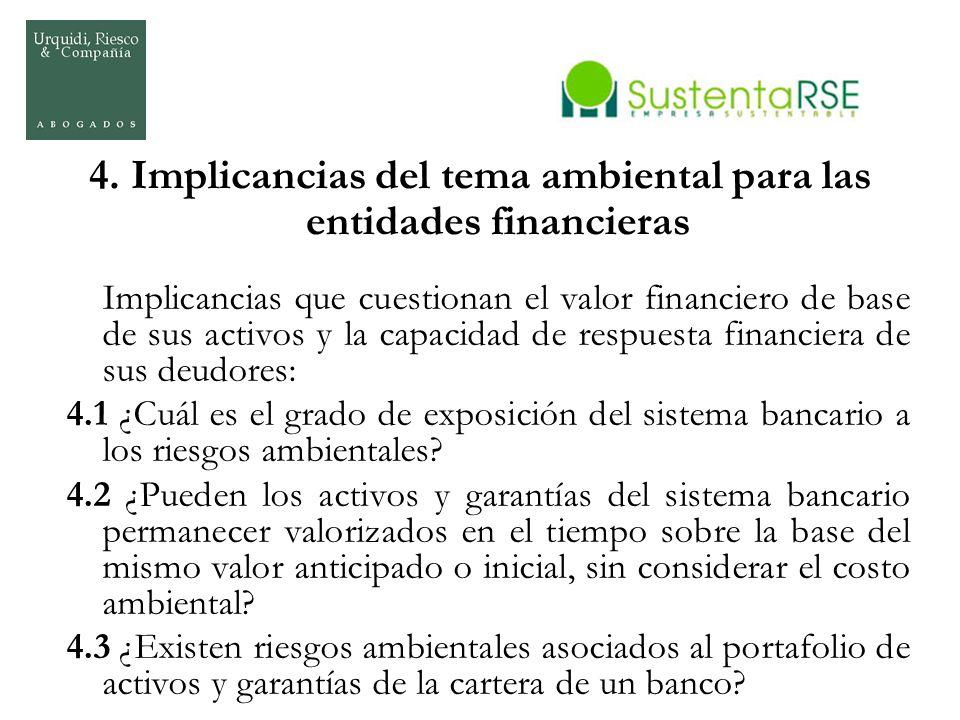 4. Implicancias del tema ambiental para las entidades financieras Implicancias que cuestionan el valor financiero de base de sus activos y la capacida