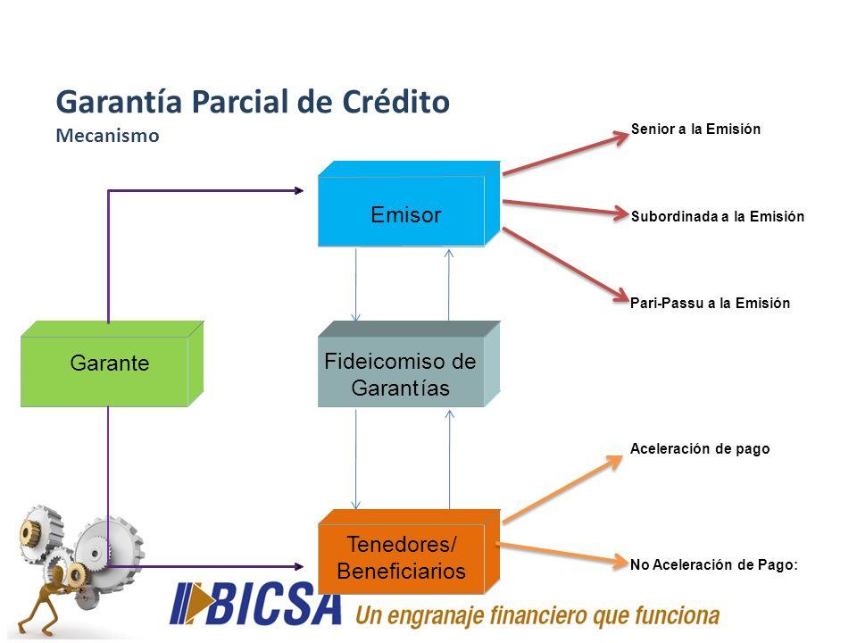 Senior a la Emisión Subordinada a la Emisión Pari-Passu a la Emisión Aceleración de pago No Aceleración de Pago: Garantía Parcial de Crédito Mecanismo