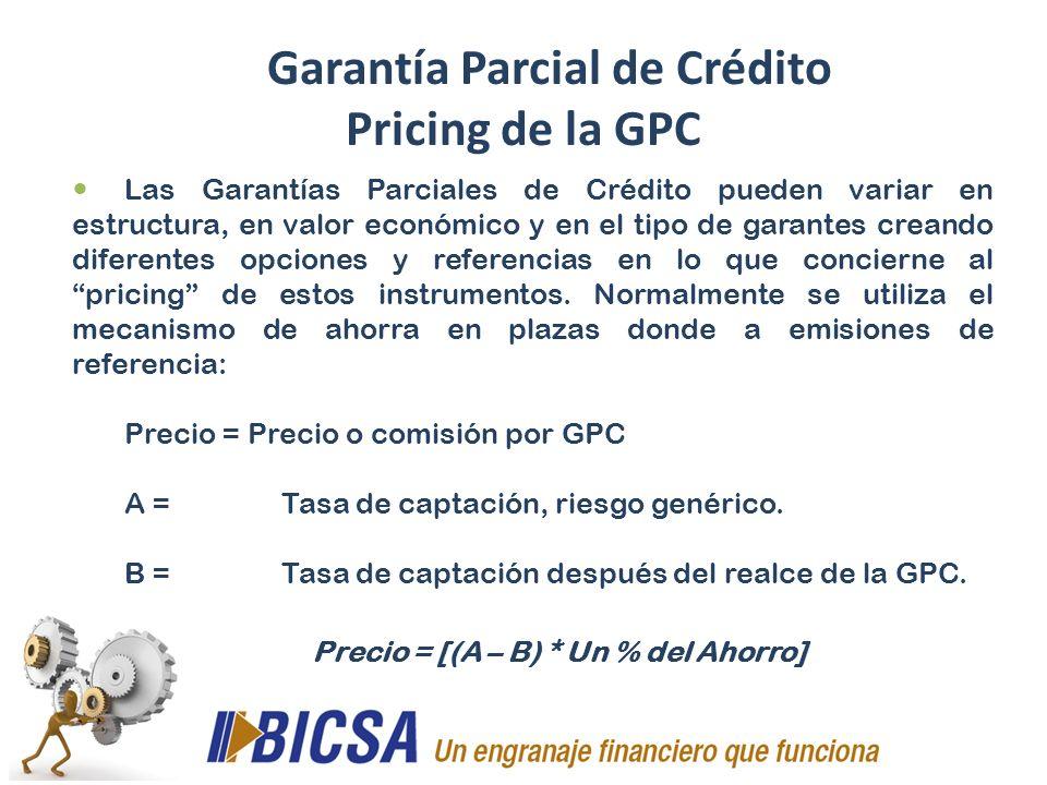 Garantía Parcial de Crédito Pricing de la GPC Las Garantías Parciales de Crédito pueden variar en estructura, en valor económico y en el tipo de garan