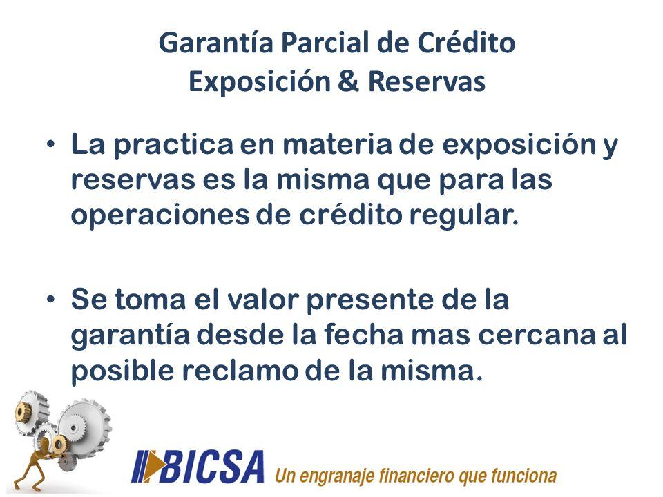La practica en materia de exposición y reservas es la misma que para las operaciones de crédito regular. Se toma el valor presente de la garantía desd