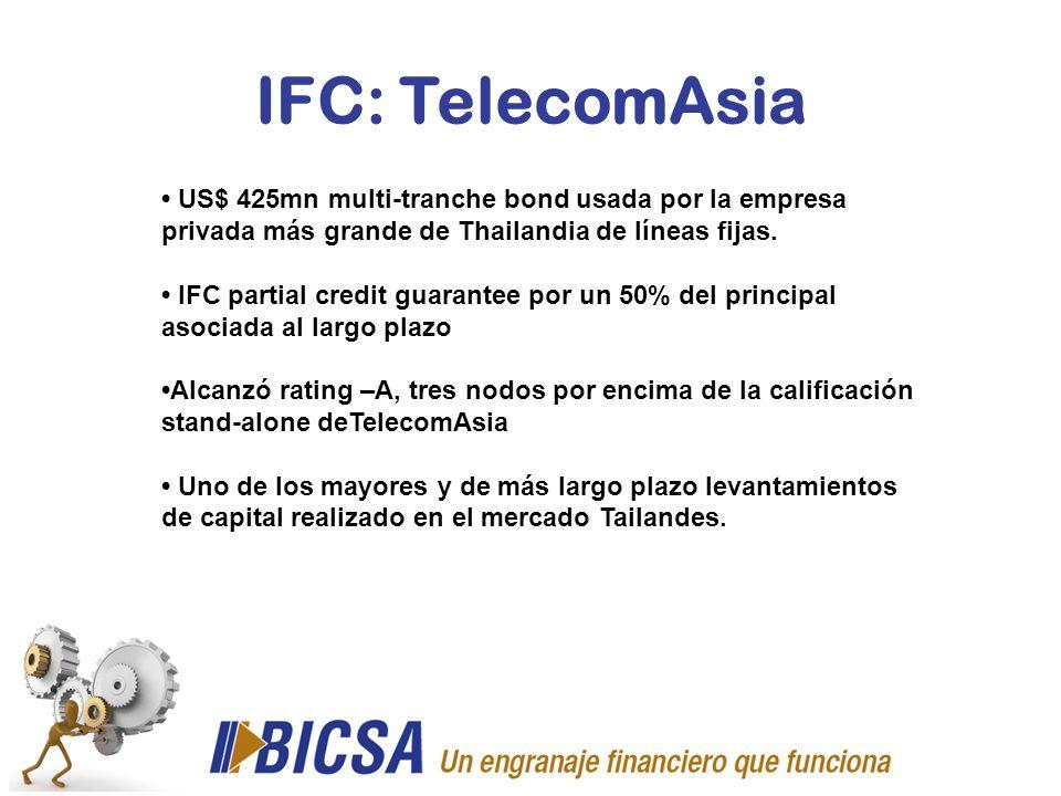 IFC: TelecomAsia US$ 425mn multi-tranche bond usada por la empresa privada más grande de Thailandia de líneas fijas. IFC partial credit guarantee por