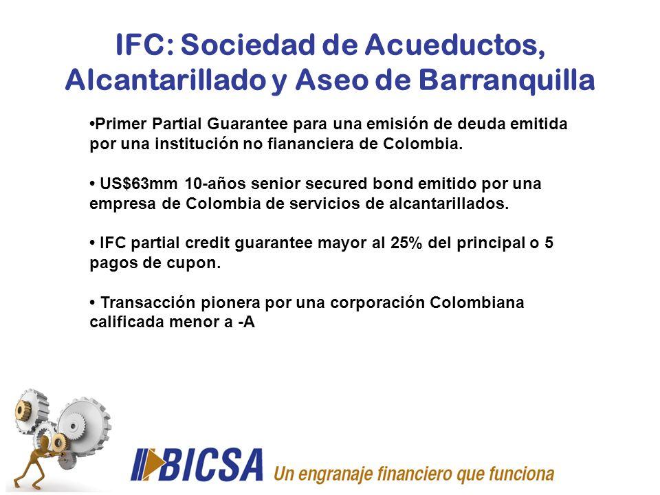 IFC: Sociedad de Acueductos, Alcantarillado y Aseo de Barranquilla Primer Partial Guarantee para una emisión de deuda emitida por una institución no f