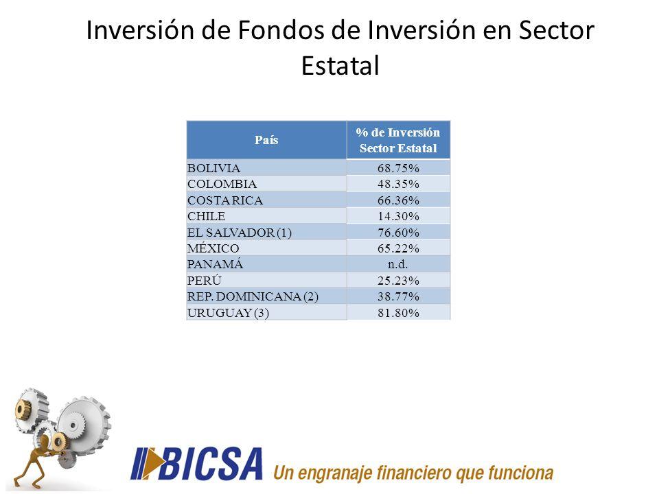 País % de Inversión Sector Estatal BOLIVIA68.75% COLOMBIA48.35% COSTA RICA66.36% CHILE14.30% EL SALVADOR (1)76.60% MÉXICO65.22% PANAMÁn.d. PERÚ25.23%