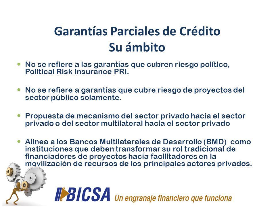 No se refiere a las garantías que cubren riesgo político, Political Risk Insurance PRI. No se refiere a garantías que cubre riesgo de proyectos del se