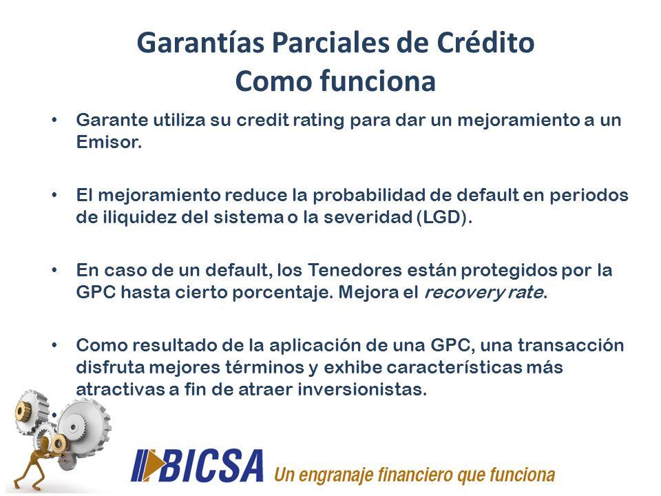 Garante utiliza su credit rating para dar un mejoramiento a un Emisor. El mejoramiento reduce la probabilidad de default en periodos de iliquidez del