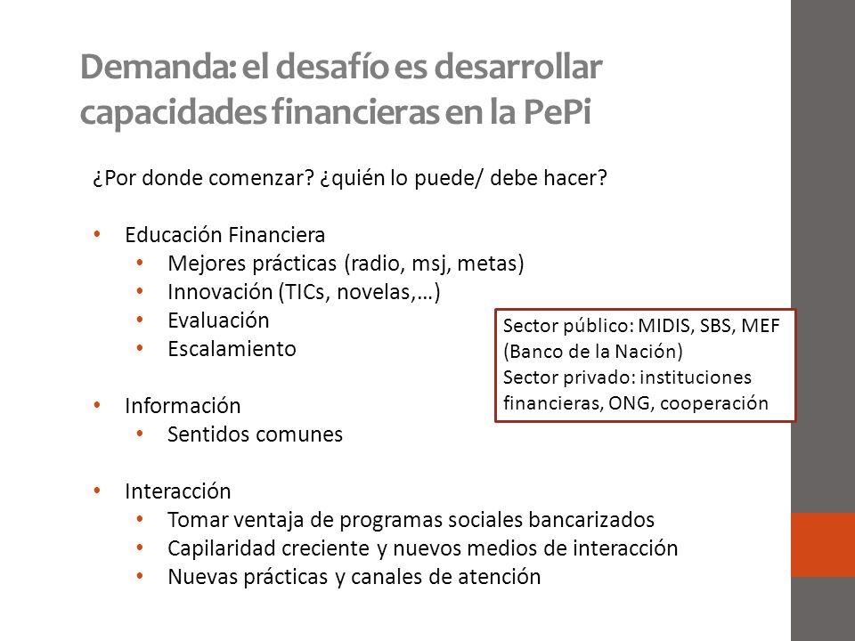 Demanda: el desafío es desarrollar capacidades financieras en la PePi ¿Por donde comenzar? ¿quién lo puede/ debe hacer? Educación Financiera Mejores p