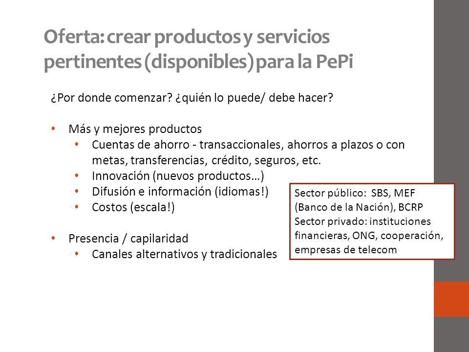 Oferta: crear productos y servicios pertinentes (disponibles) para la PePi ¿Por donde comenzar? ¿quién lo puede/ debe hacer? Más y mejores productos C