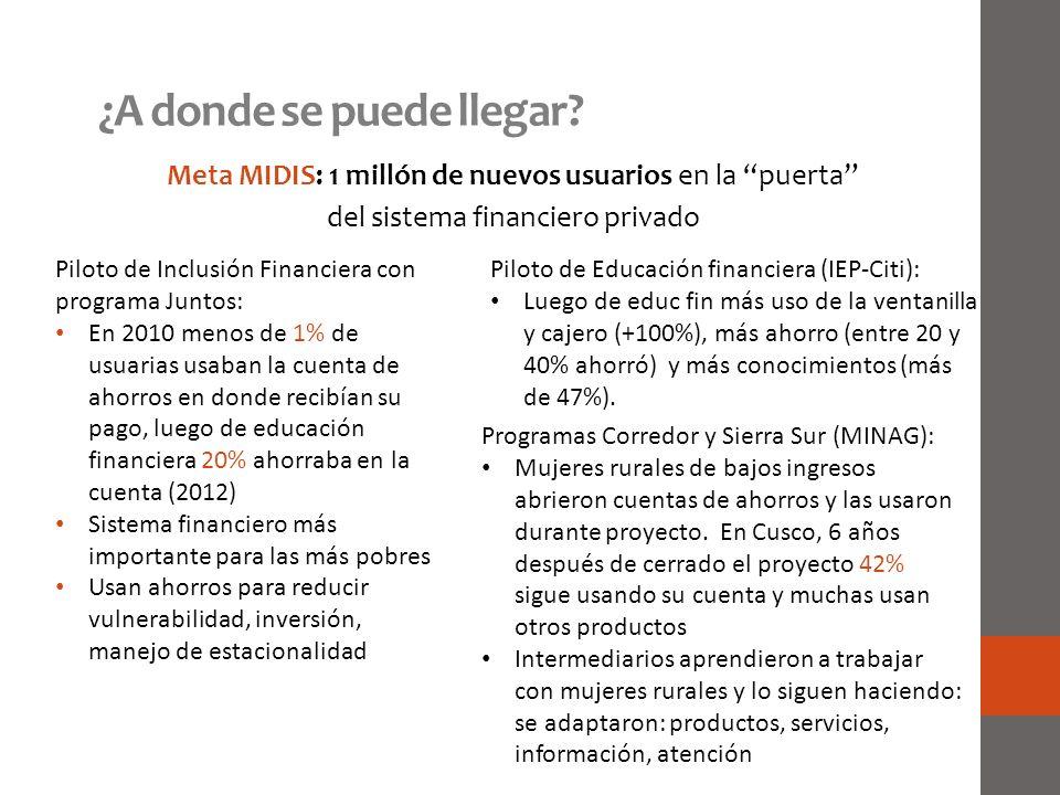 ¿A donde se puede llegar? Meta MIDIS: 1 millón de nuevos usuarios en la puerta del sistema financiero privado Piloto de Inclusión Financiera con progr