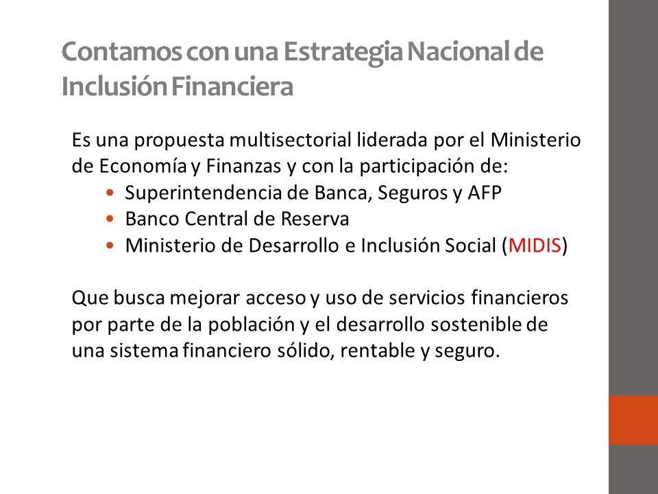 Contamos con una Estrategia Nacional de Inclusión Financiera Es una propuesta multisectorial liderada por el Ministerio de Economía y Finanzas y con l