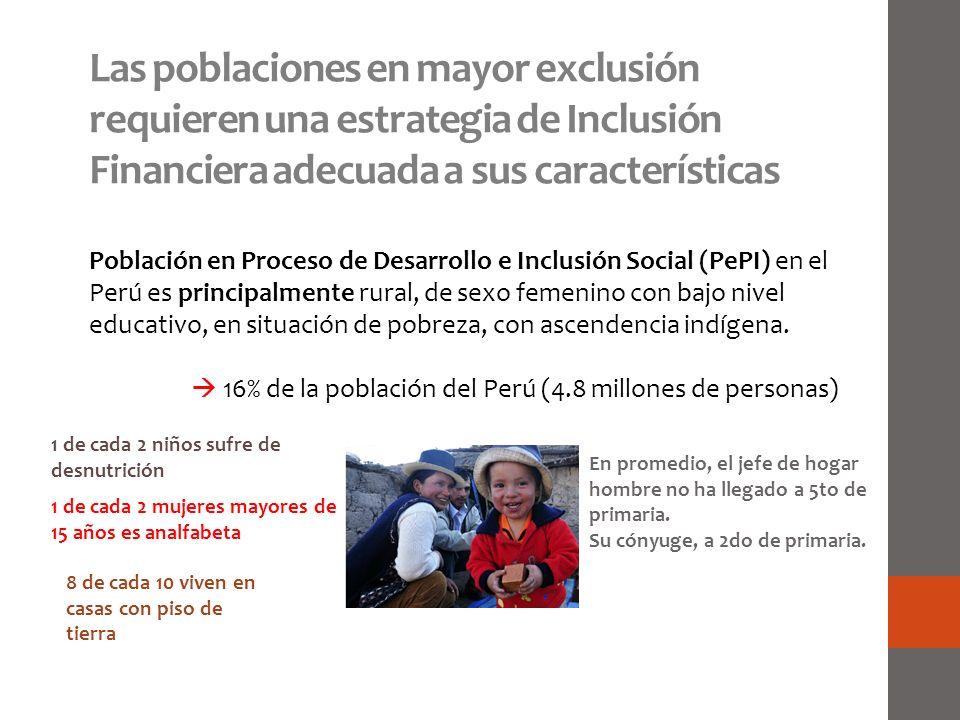 Las poblaciones en mayor exclusión requieren una estrategia de Inclusión Financiera adecuada a sus características Población en Proceso de Desarrollo