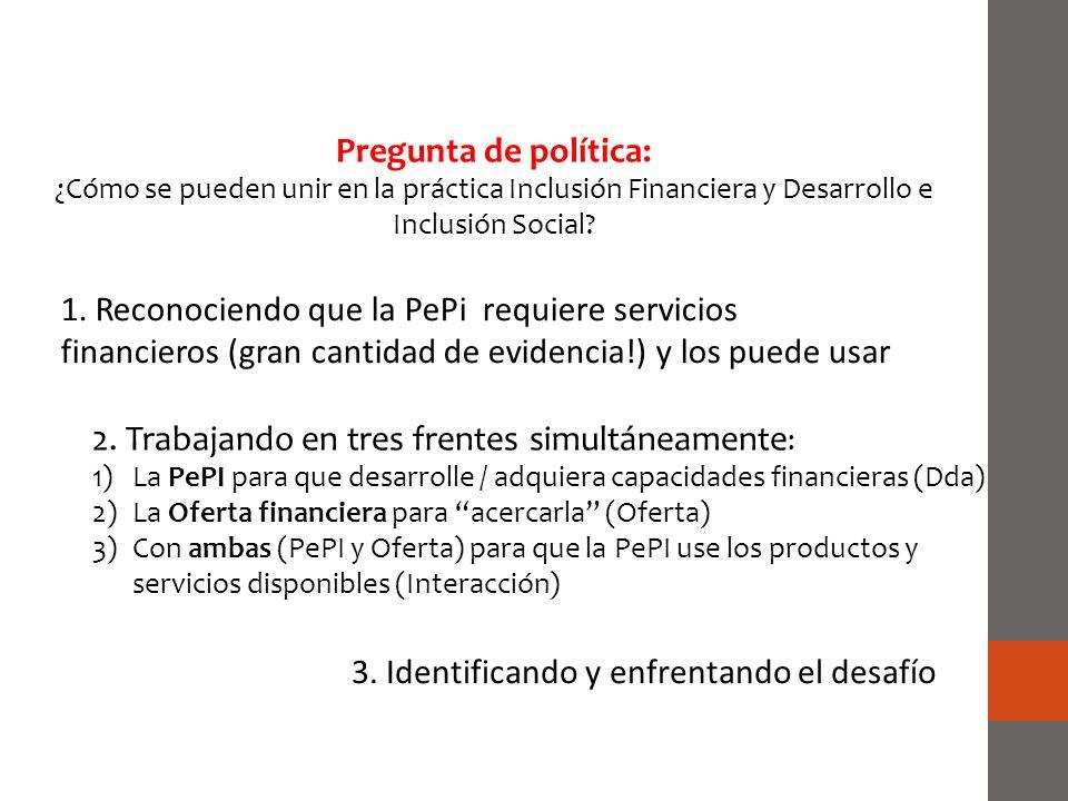 2. Trabajando en tres frentes simultáneamente : 1)La PePI para que desarrolle / adquiera capacidades financieras (Dda) 2)La Oferta financiera para ace