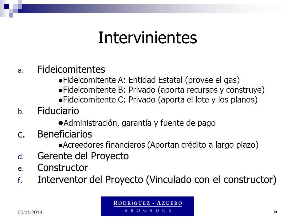 5 06/01/2014 Intervinientes a. Fideicomitentes Fideicomitente A: Entidad Estatal (provee el gas) Fideicomitente B: Privado (aporta recursos y construy