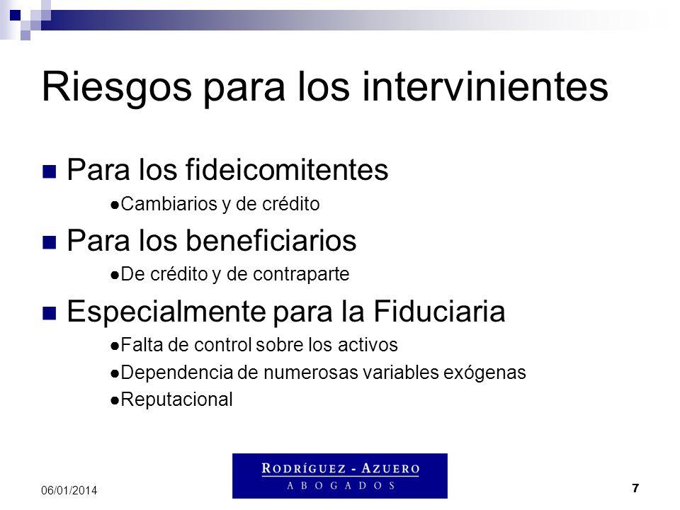 7 06/01/2014 Riesgos para los intervinientes Para los fideicomitentes Cambiarios y de crédito Para los beneficiarios De crédito y de contraparte Espec
