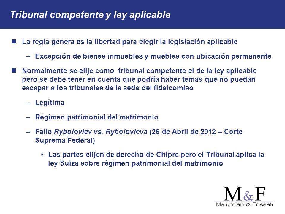 Tribunal competente y ley aplicable La regla genera es la libertad para elegir la legislación aplicable – –Excepción de bienes inmuebles y muebles con