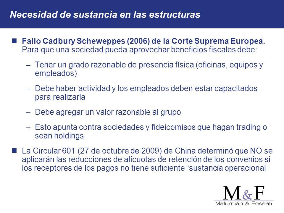 Necesidad de sustancia en las estructuras Fallo Cadbury Scheweppes (2006) de la Corte Suprema Europea. Para que una sociedad pueda aprovechar benefici