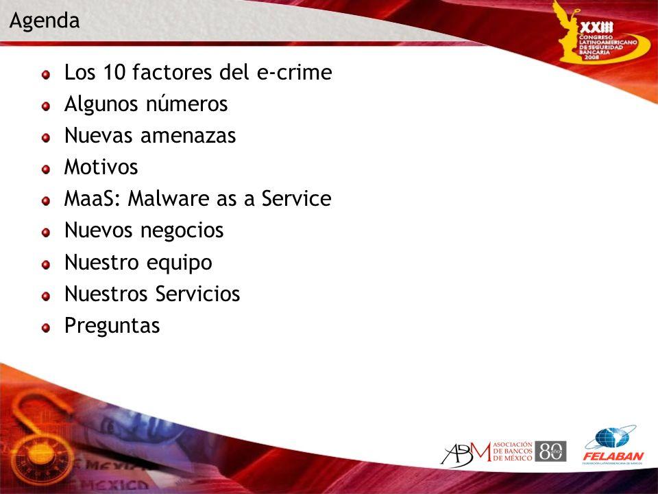 Los 10 factores del e-crime Algunos números Nuevas amenazas Motivos MaaS: Malware as a Service Nuevos negocios Nuestro equipo Nuestros Servicios Pregu