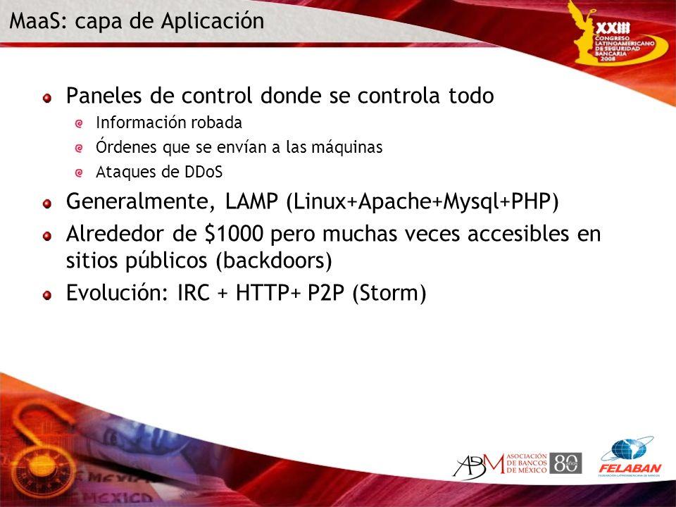 MaaS: capa de Aplicación Paneles de control donde se controla todo Información robada Órdenes que se envían a las máquinas Ataques de DDoS Generalment