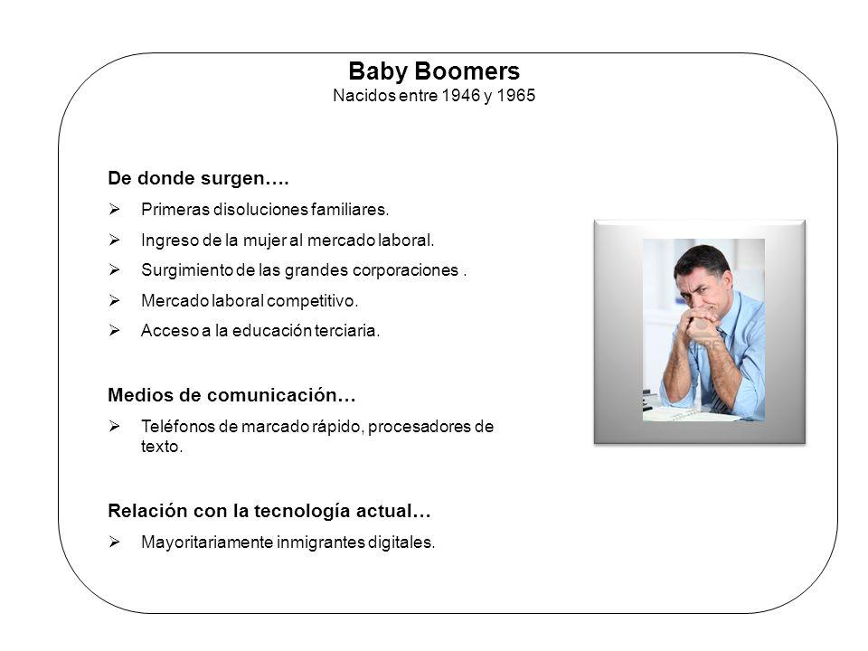 Baby Boomers Nacidos entre 1946 y 1965 De donde surgen…. Primeras disoluciones familiares. Ingreso de la mujer al mercado laboral. Surgimiento de las