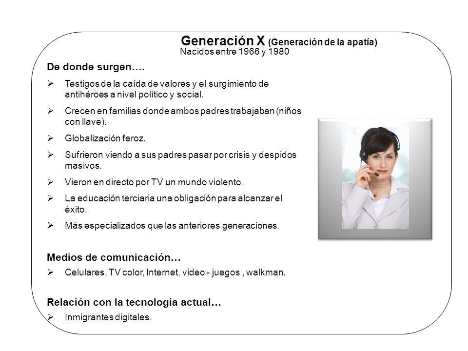 Generación X (Generación de la apatía) Nacidos entre 1966 y 1980 De donde surgen…. Testigos de la caída de valores y el surgimiento de antihéroes a ni