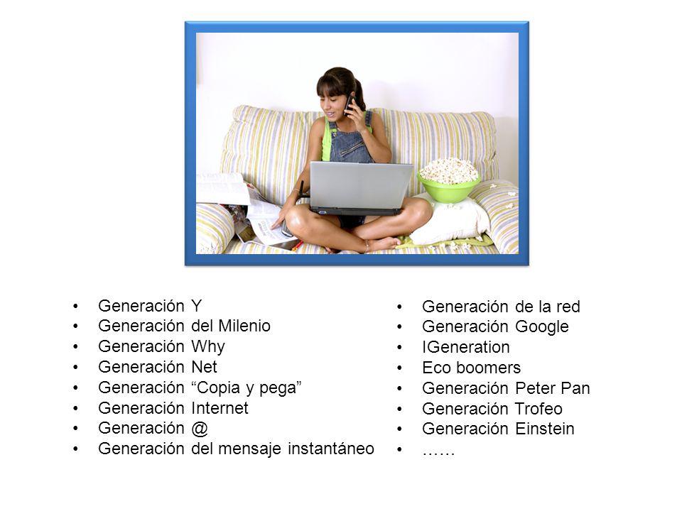 Generación Y Generación del Milenio Generación Why Generación Net Generación Copia y pega Generación Internet Generación @ Generación del mensaje inst