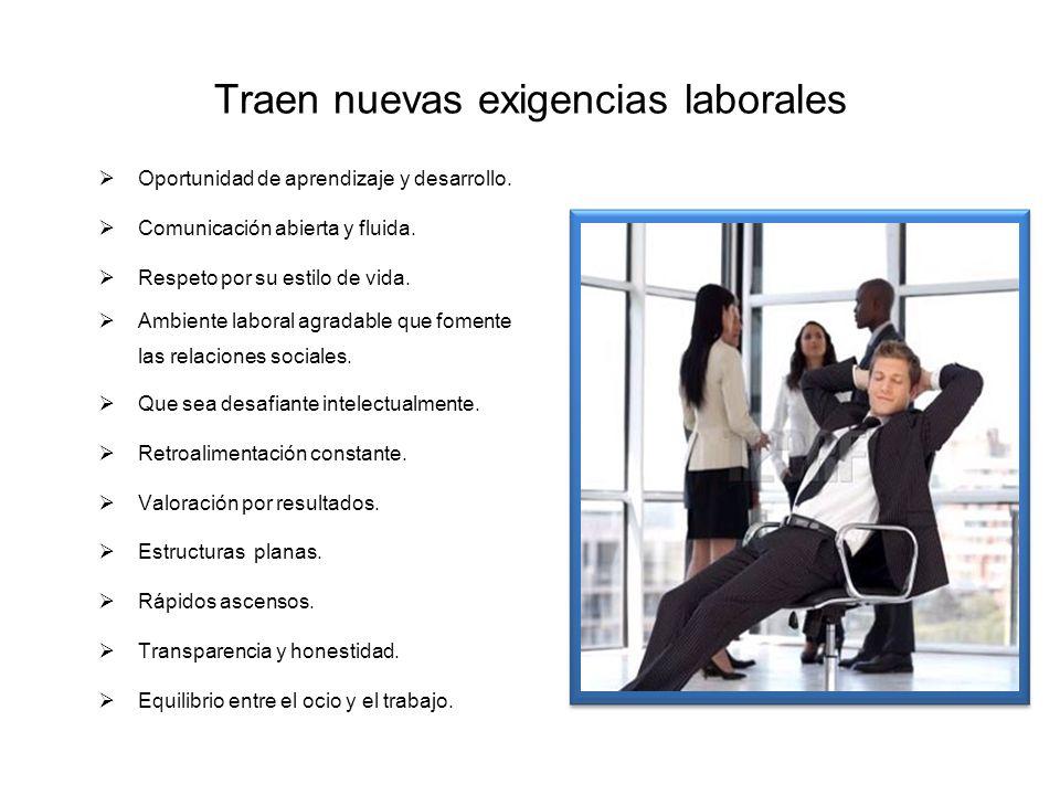 Traen nuevas exigencias laborales Oportunidad de aprendizaje y desarrollo. Comunicación abierta y fluida. Respeto por su estilo de vida. Ambiente labo