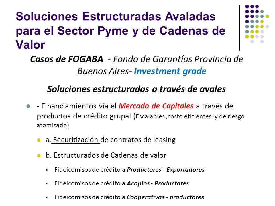 Soluciones Estructuradas Avaladas para el Sector Pyme y de Cadenas de Valor Casos de FOGABA - Fondo de Garantías Provincia de Buenos Aires- Investment