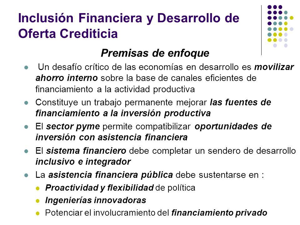 Inclusión Financiera y Desarrollo de Oferta Crediticia Premisas de enfoque Un desafío crítico de las economías en desarrollo es movilizar ahorro inter