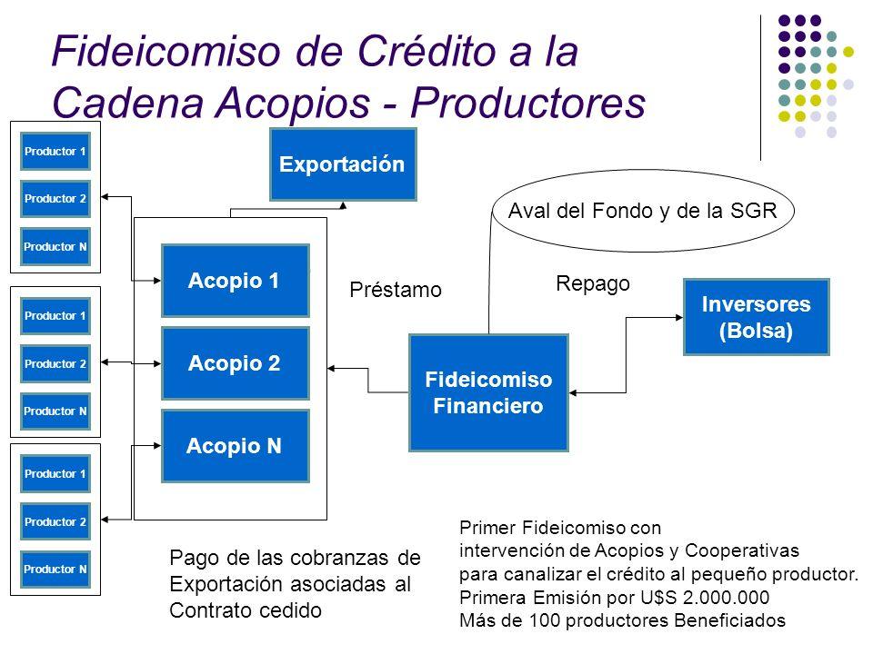 Fideicomiso de Crédito a la Cadena Acopios - Productores Productor 1 Productor 2 Productor N Fideicomiso Financiero Inversores (Bolsa) Préstamo Pago d