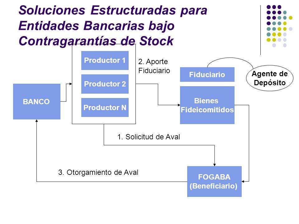 Bienes Fideicomitidos Fiduciario Productor 1 Productor 2 Productor N BANCO Agente de Depósito FOGABA (Beneficiario) 1. Solicitud de Aval 2. Aporte Fid