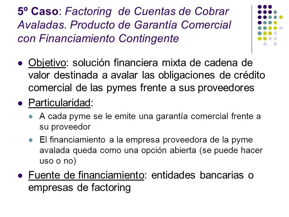 5º Caso: Factoring de Cuentas de Cobrar Avaladas. Producto de Garantía Comercial con Financiamiento Contingente Objetivo: solución financiera mixta de