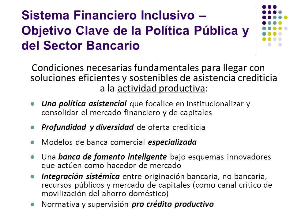 Sistema Financiero Inclusivo – Objetivo Clave de la Política Pública y del Sector Bancario Condiciones necesarias fundamentales para llegar con soluci