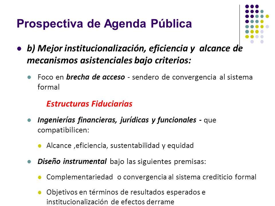 Prospectiva de Agenda Pública b) Mejor institucionalización, eficiencia y alcance de mecanismos asistenciales bajo criterios: Foco en brecha de acceso