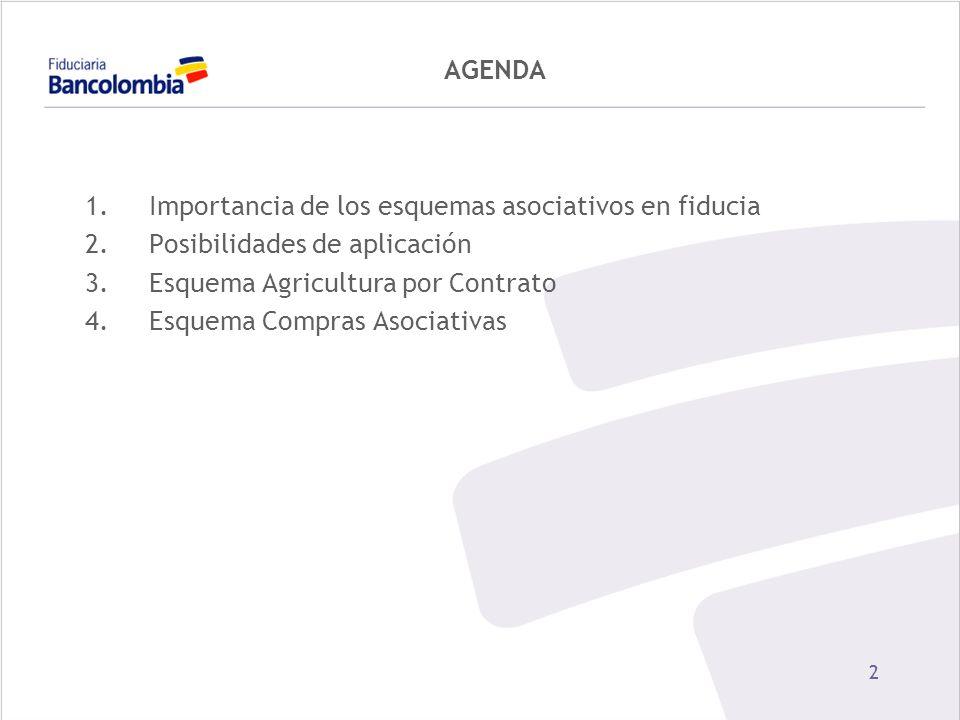 22 AGENDA 1.Importancia de los esquemas asociativos en fiducia 2.Posibilidades de aplicación 3.Esquema Agricultura por Contrato 4.Esquema Compras Asoc