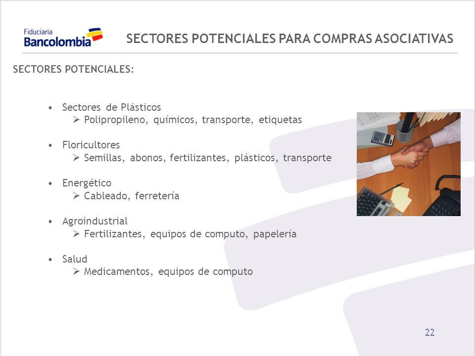 22 SECTORES POTENCIALES PARA COMPRAS ASOCIATIVAS SECTORES POTENCIALES: Sectores de Plásticos Polipropileno, químicos, transporte, etiquetas Floriculto