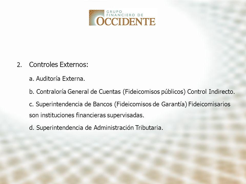 2. Controles Externos: a. Auditoría Externa. b. Contraloría General de Cuentas (Fideicomisos públicos) Control Indirecto. c. Superintendencia de Banco