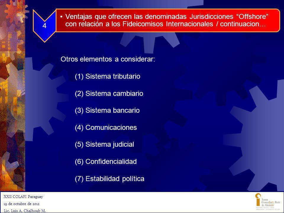 Otros elementos a considerar: (1)Sistema tributario (2)Sistema cambiario (3)Sistema bancario (4)Comunicaciones (5)Sistema judicial (6)Confidencialidad