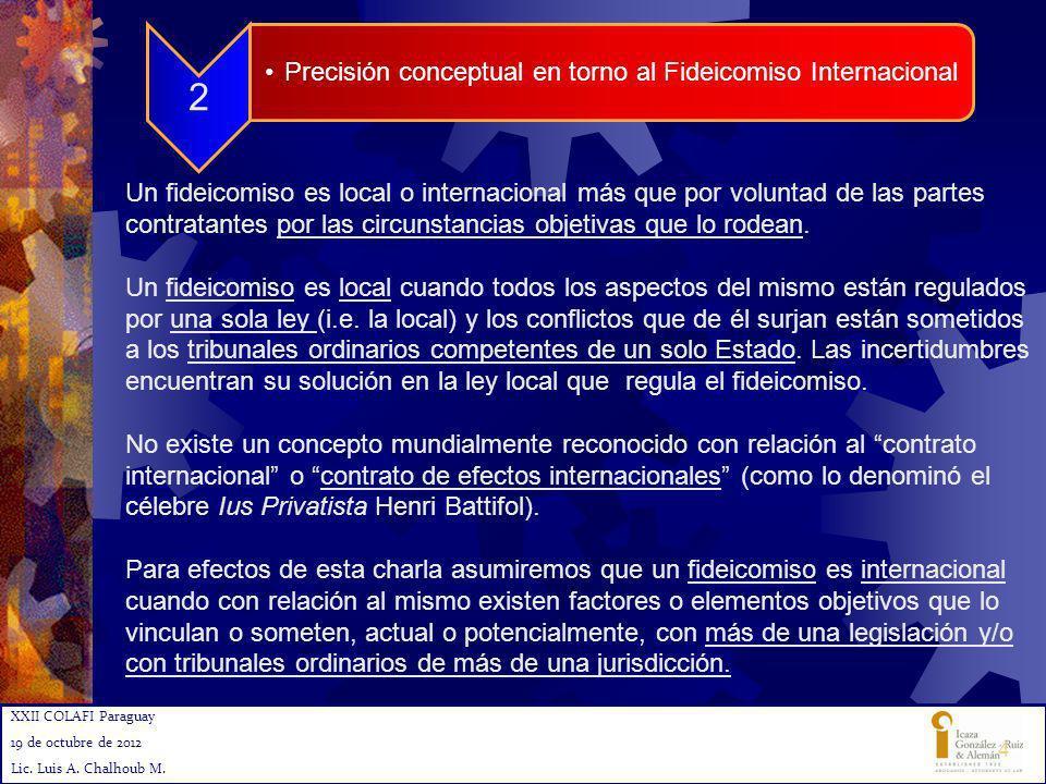 XXII COLAFI Paraguay 19 de octubre de 2012 Lic. Luis A. Chalhoub M. 4 2 Precisión conceptual en torno al Fideicomiso Internacional Un fideicomiso es l