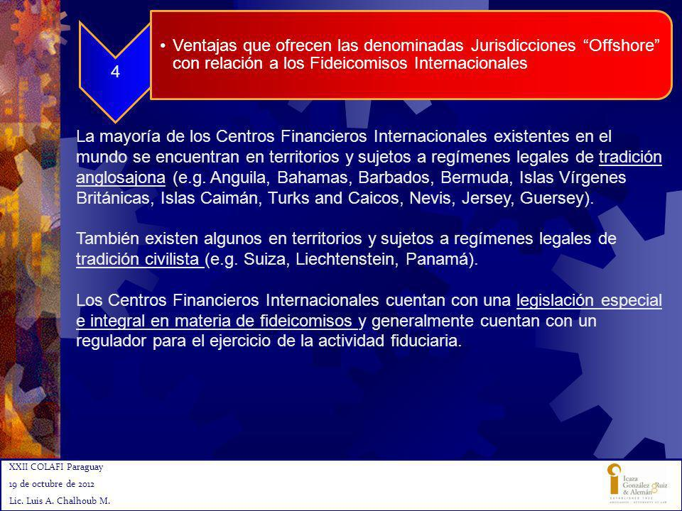 XXII COLAFI Paraguay 19 de octubre de 2012 Lic. Luis A. Chalhoub M. 8 4 Ventajas que ofrecen las denominadas Jurisdicciones Offshore con relación a lo