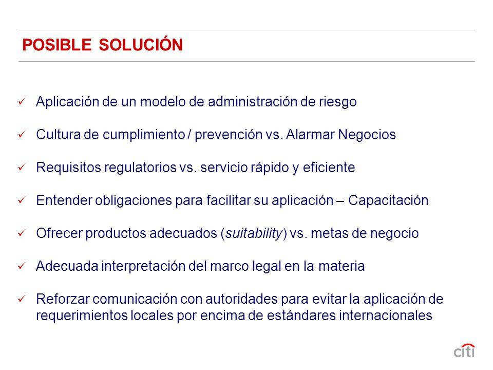 Aplicación de un modelo de administración de riesgo Cultura de cumplimiento / prevención vs. Alarmar Negocios Requisitos regulatorios vs. servicio ráp