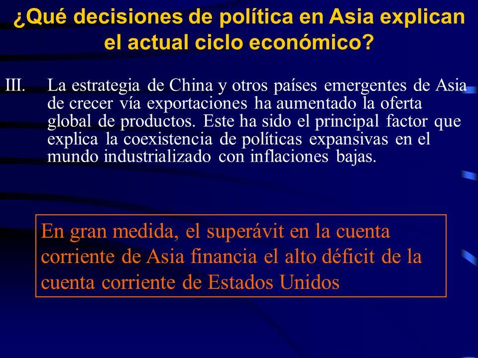 III.La estrategia de China y otros países emergentes de Asia de crecer vía exportaciones ha aumentado la oferta global de productos.